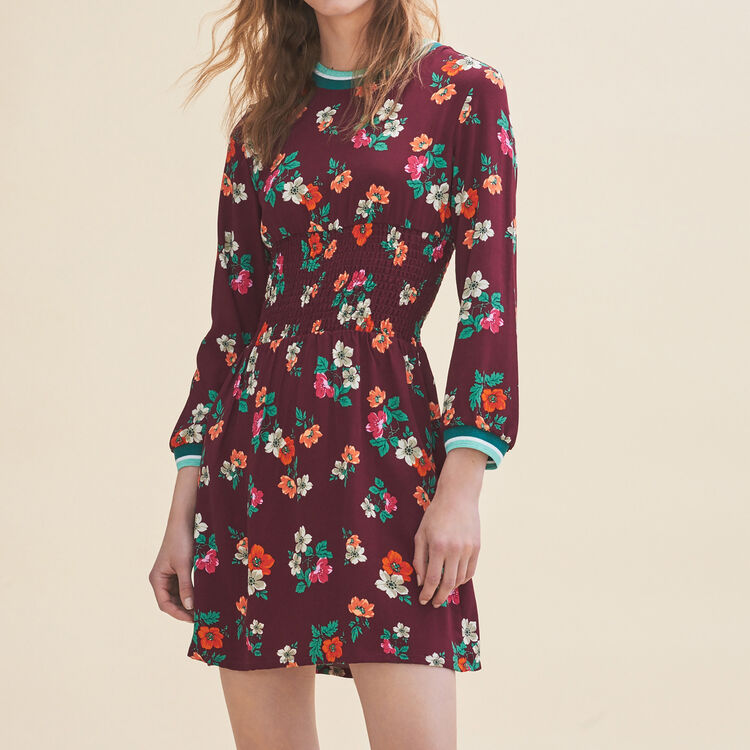 Flowing dress with a retro print - Dresses - MAJE