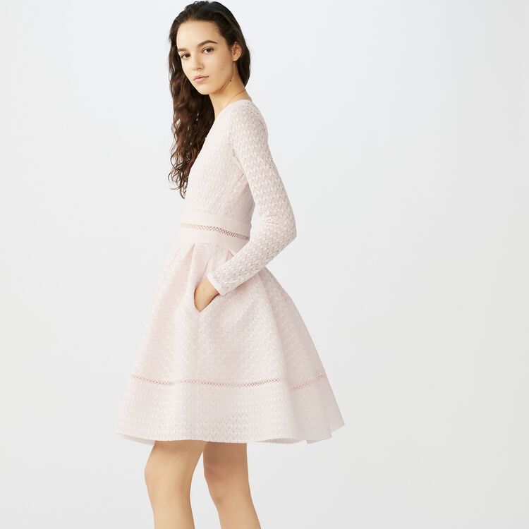 Lace skater dress : Dresses color Nude
