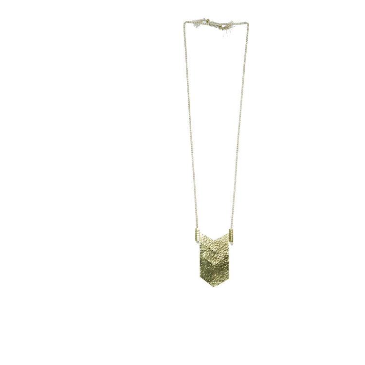 ADJUSTABLE HAMMERED GOLD LONG NECKLACE : Copy of Sale color
