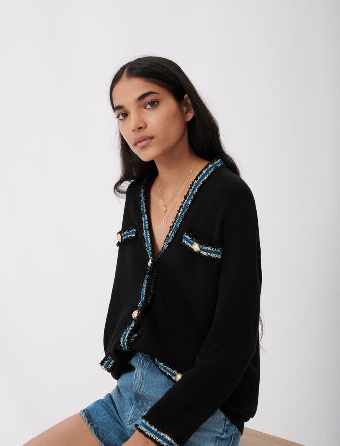 Knitted cardigan with velvet -  - MAJE