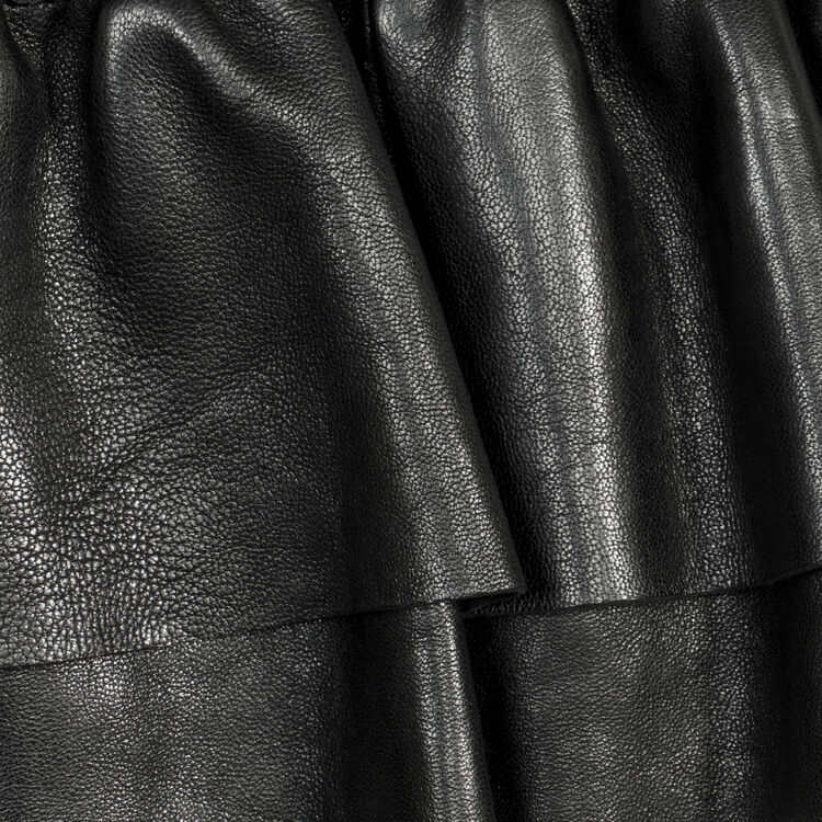 Flounced leather skirt : Skirts & Shorts color Black 210