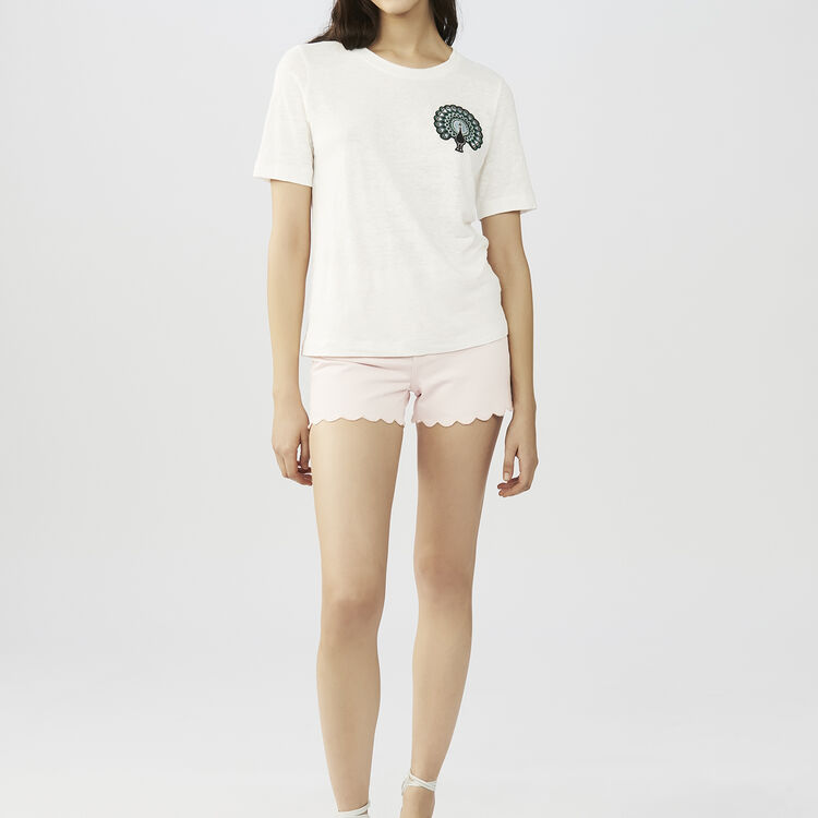 Linen t-shirt with embroidery : Tops & Shirts color ECRU