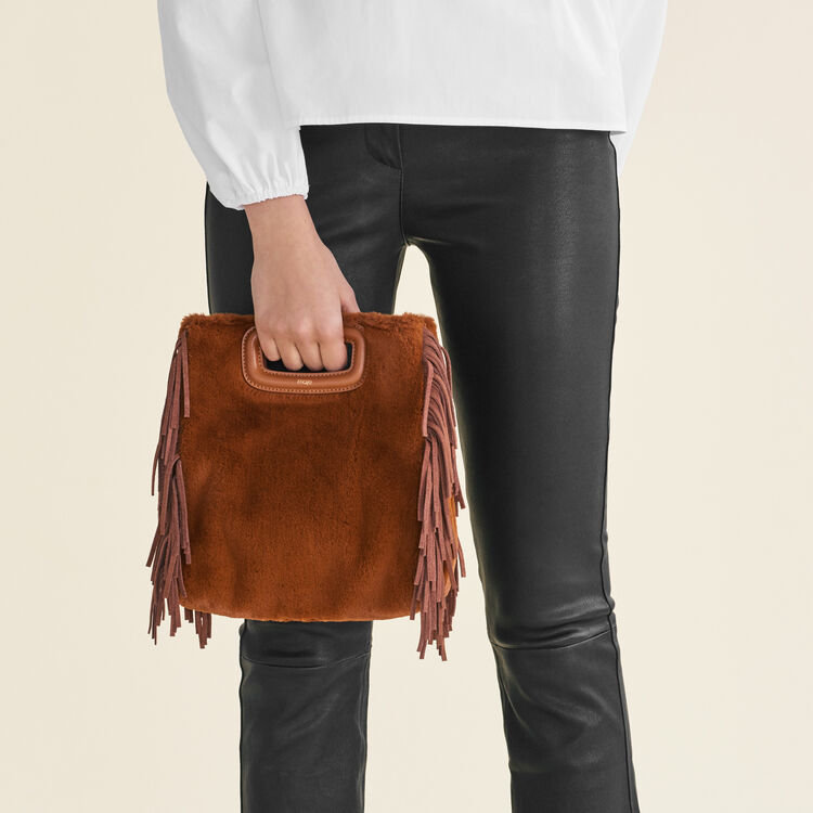Faux fur M bag : M Bags color Caramel