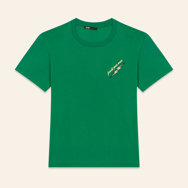 Embroidered T-shirt Thursday : Tops & Shirts color GREEN