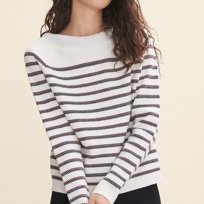 Wool blend Breton jumper : Sweaters color Ecru