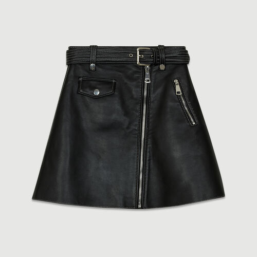 Leather A-line skirt : The Spring Essentials color Black 210