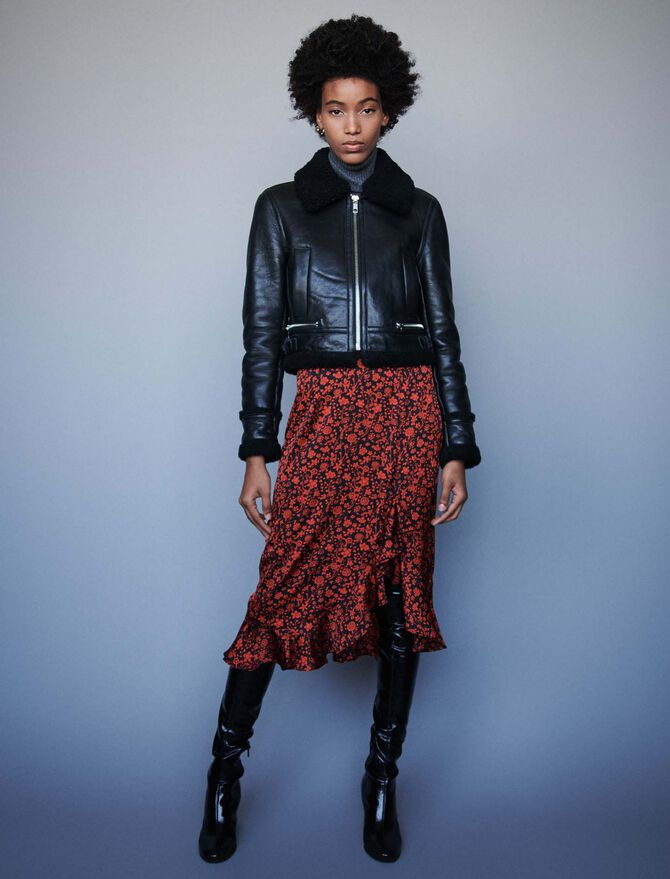 Leather jacket with shearling collar -  - MAJE