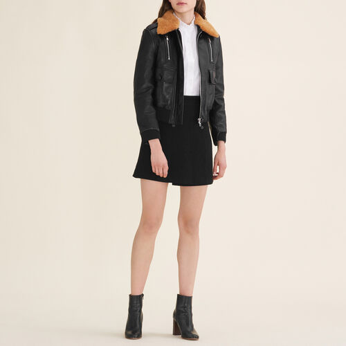 Aviator-style leather jacket - Coats & Jackets - MAJE