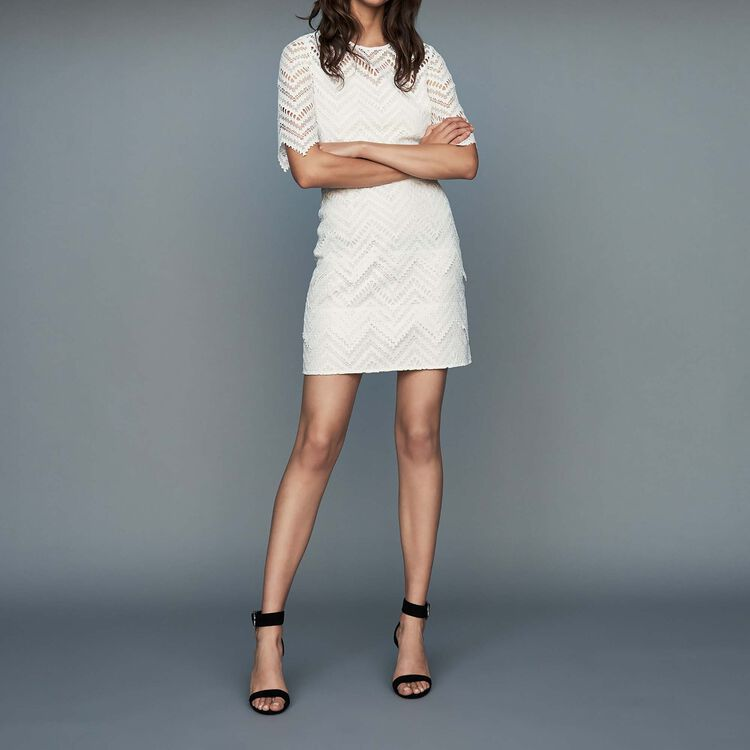 Straight lace dress : Dresses color White
