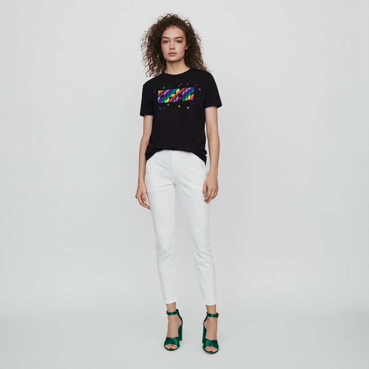 Embroidered tee shirt : Fall Pre-Collection color Black