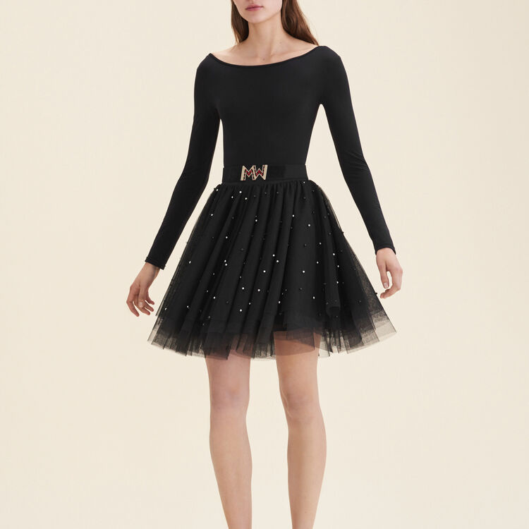 Short tulle skirt with beads : null color