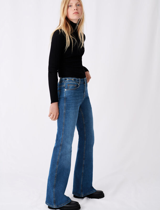 Flared jeans with horsebit detail -  - MAJE