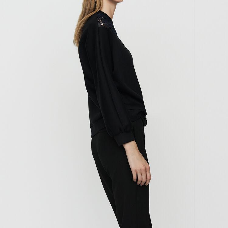 Lace sweatshirt : Sweaters color Black 210