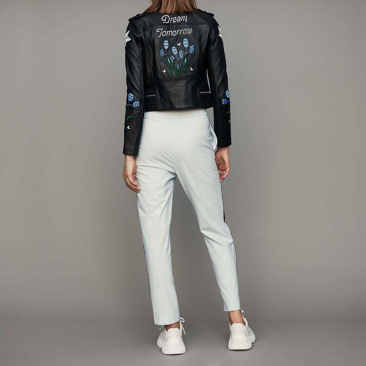 Elastic waist pants with side stripes : Pants & Jeans color Blue Sky