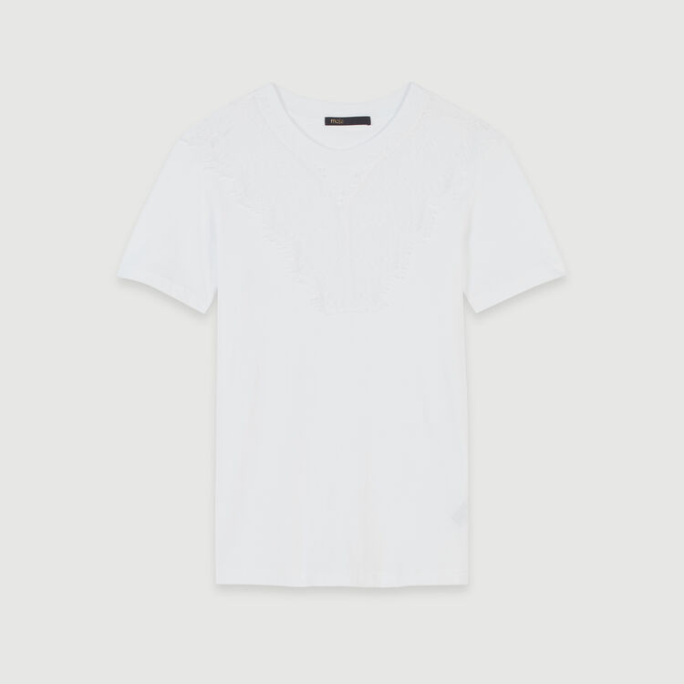 T-shirt with lace trim : Fall Pre-Collection color White
