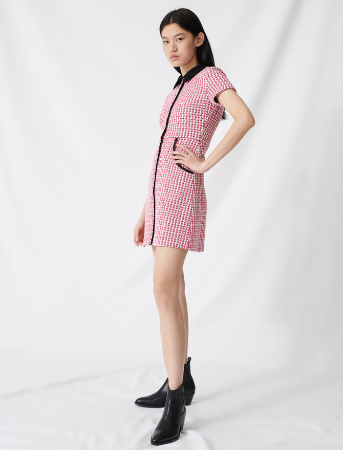 Tweed-style dress, contrasting details - Dresses - MAJE