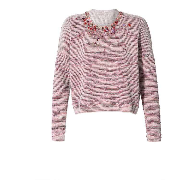 Jacquard knit and diamanté sweater : Copy of Sale color