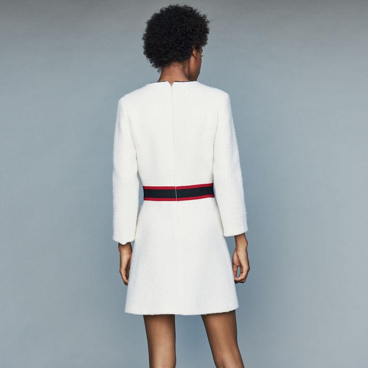 Short tweed dress : Dresses color Ecru