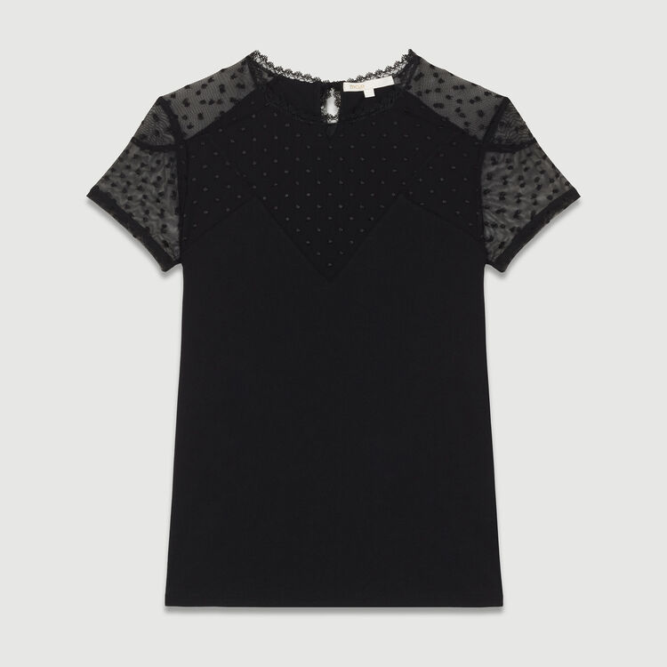 T-shirt with Swiss dot inlay : Tops & T-Shirts color Black 210