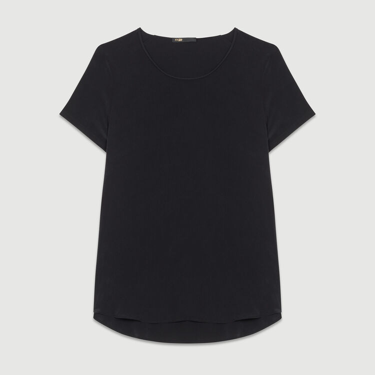 Silk top with intricate detailing : Tops & Shirts color Black 210