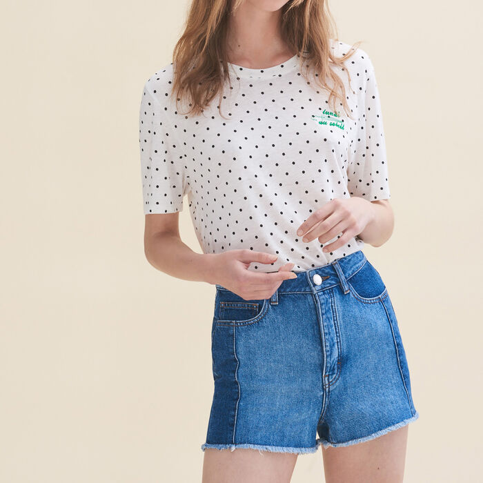Embroidered T-shirt Monday : Tops & T-Shirts color White