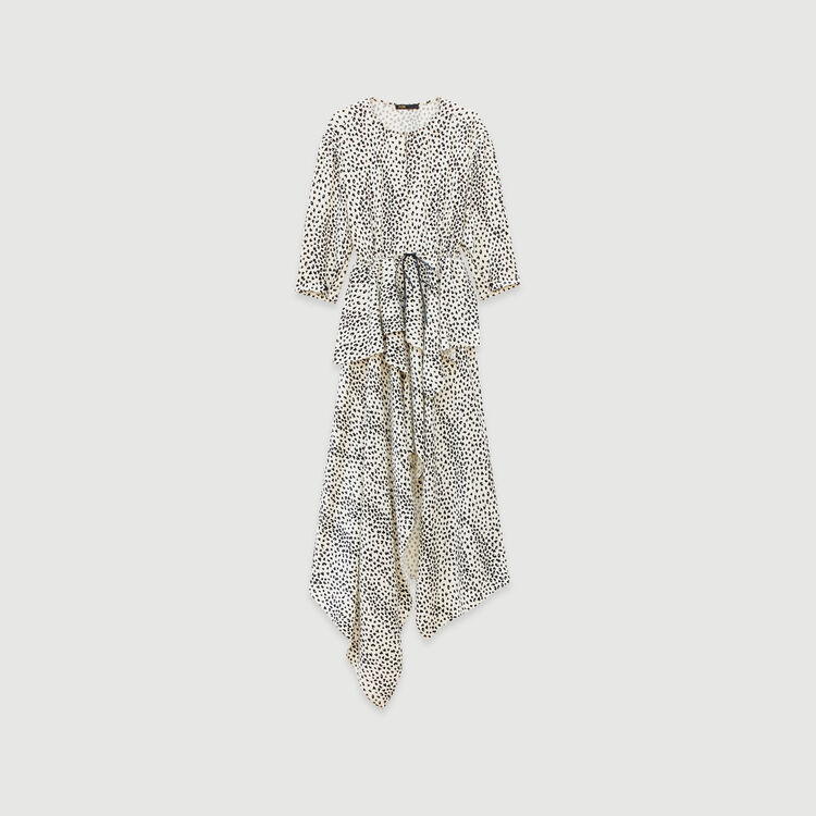 Jacquard-printed asymmetrical dress : Fall Pre-Collection color White