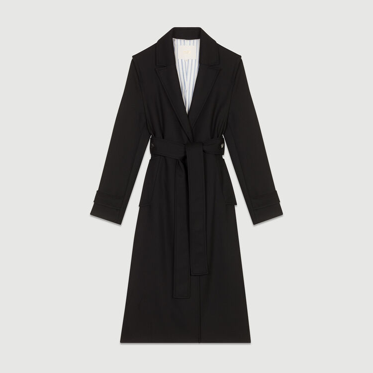 Trench coat with detachable belt : Coats & Jackets color Black 210