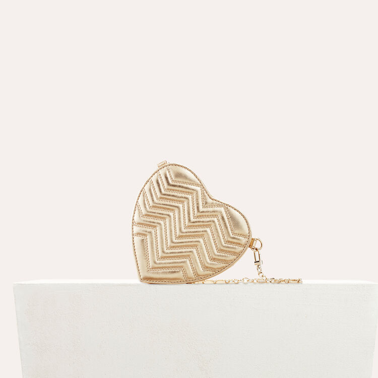 Quilted leather heart-shaped saddle bag : Shoes & Accessories color Gold