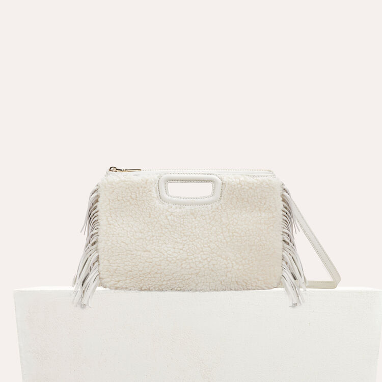 M Duo clutch in shearling : Bags color White