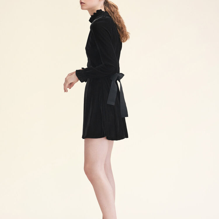 Velvet dress with belt : null color