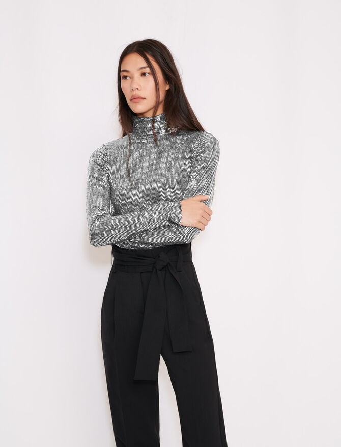 Turtleneck t-shirt in stretch material - The Essentials - MAJE