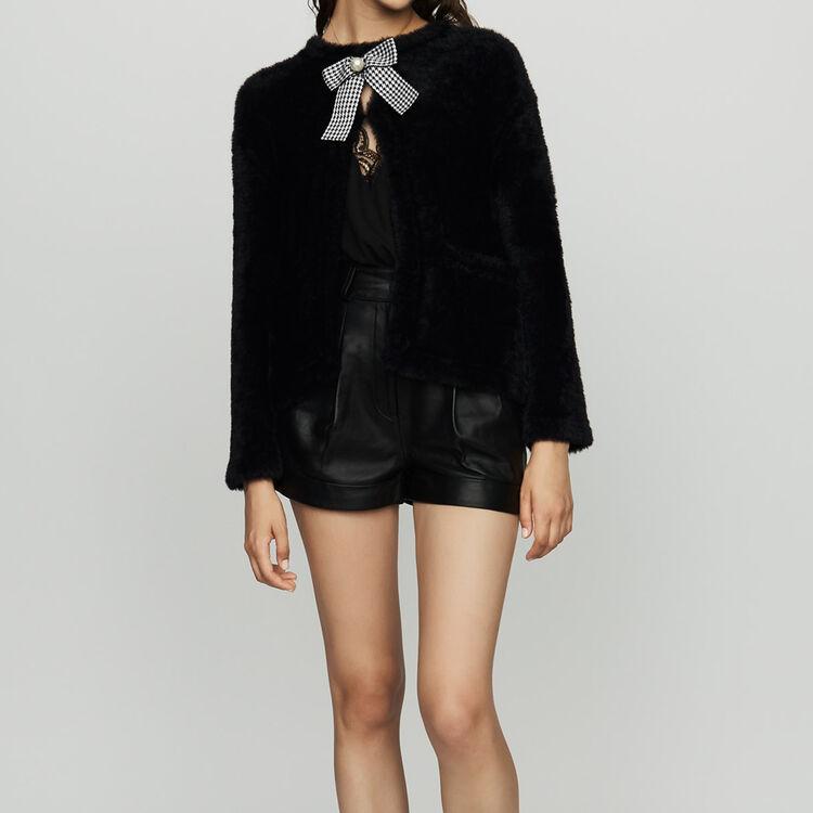 Faux fur cardigan : Sweaters color Black 210