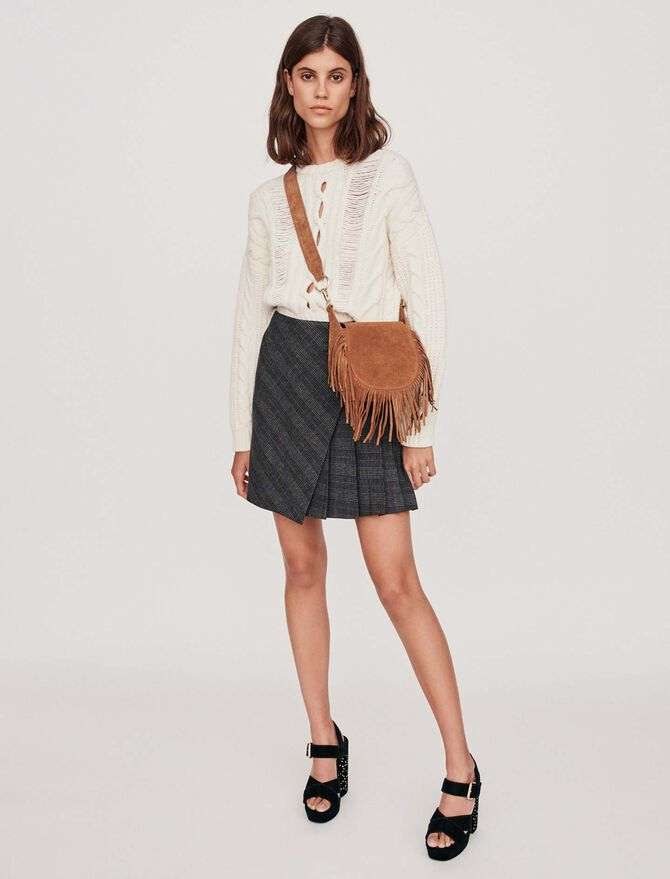 Pleated short skirt with checks - Skirts & Shorts - MAJE