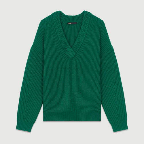 Long-sleeved, V-neck sweater : Sweaters color Green