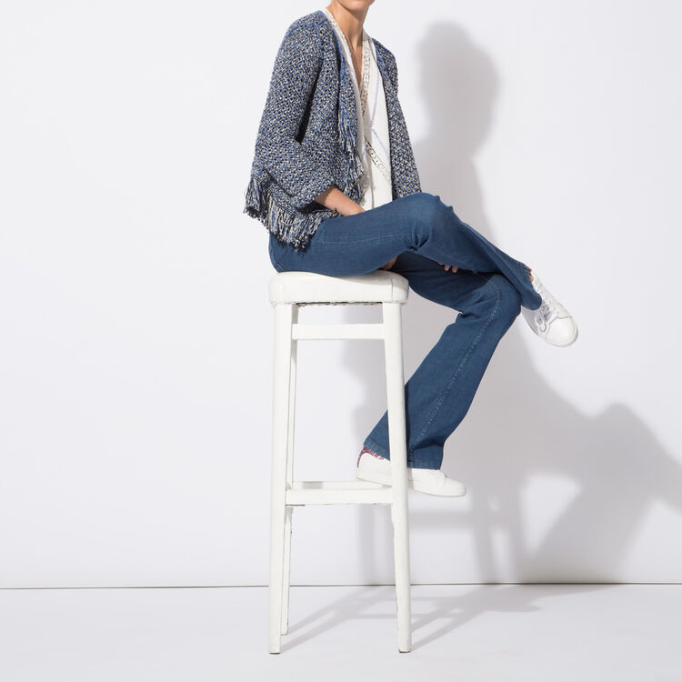 Cardigan in decorative knit with tassels : The Zoe Report color