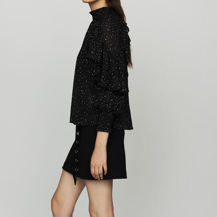 Ruffle shirt with polka : Tops & Shirts color BLACK