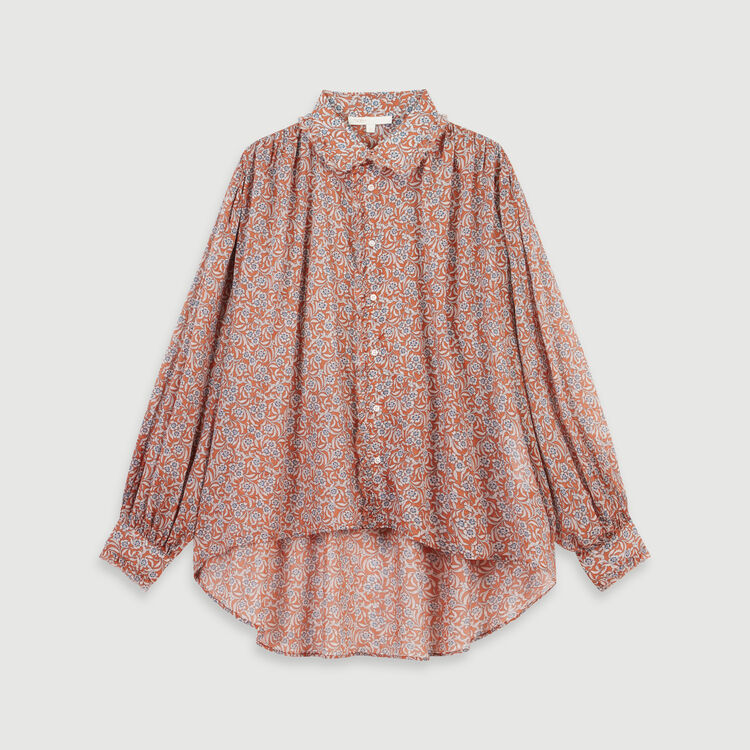 Printed- cotton voile shirt : Tops & T-Shirts color Terracota