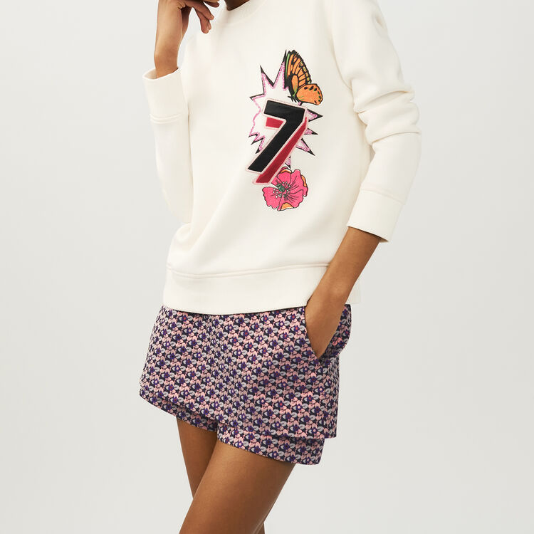 Quilted print sweatshirt : Tops & Shirts color ECRU