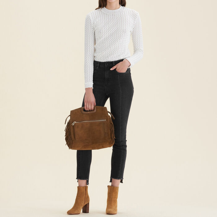 Straight-cut jeans with asymmetric hem : null color