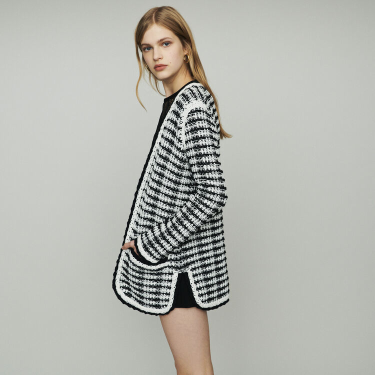 Long cardigan jacket in tweed-style : Sweaters color Two-Tone