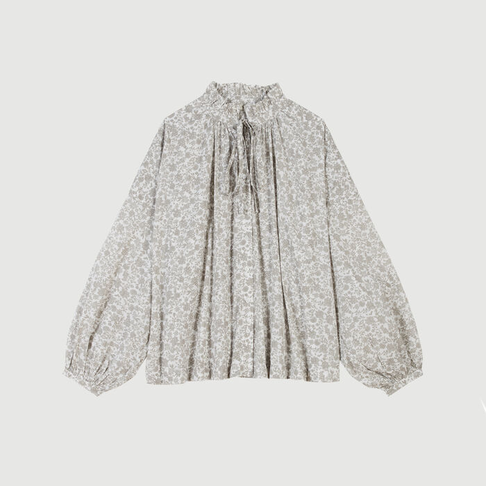 Floral-print cotton shirt : Tops & T-Shirts color Grey