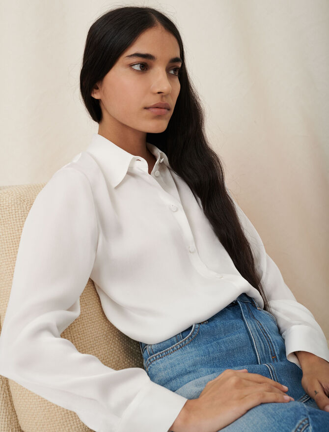 White silk shirt - Tops & T-Shirts - MAJE