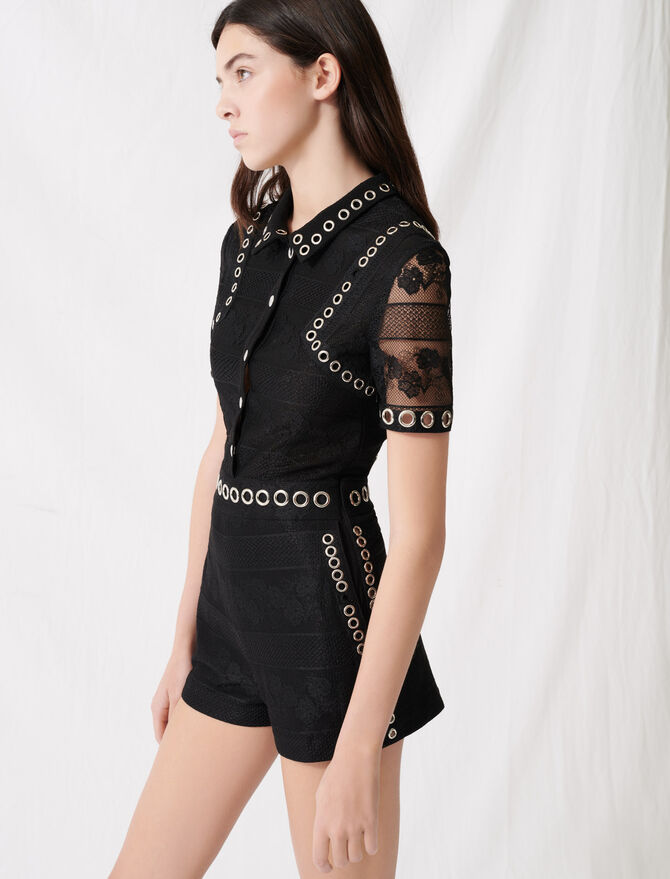 Romper with lace and eyelets - Jumpsuits & Rompers - MAJE