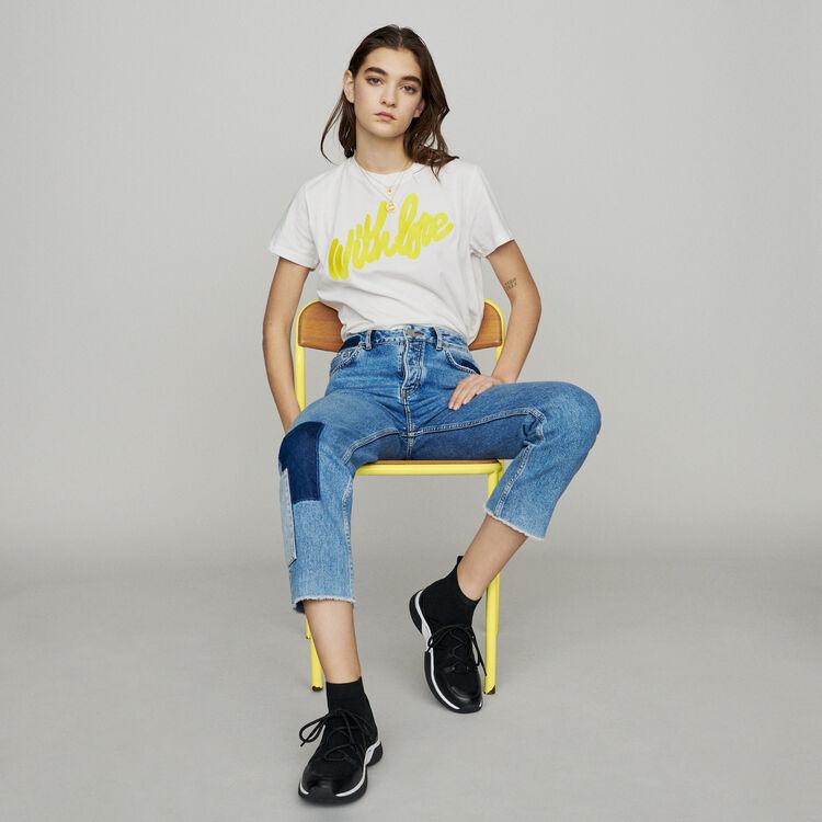 Straight-leg jeans with pieces : Pants & Jeans color Blue