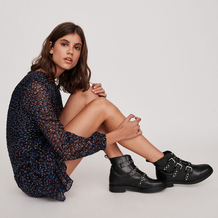Flat leather studded booties : Shoes color Black
