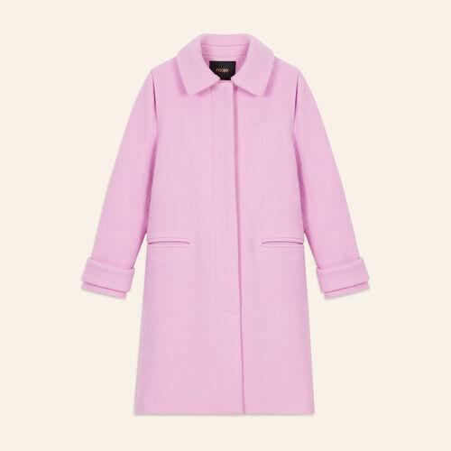 Straight-cut coat in virgin wool : Coats & Jackets color Pink