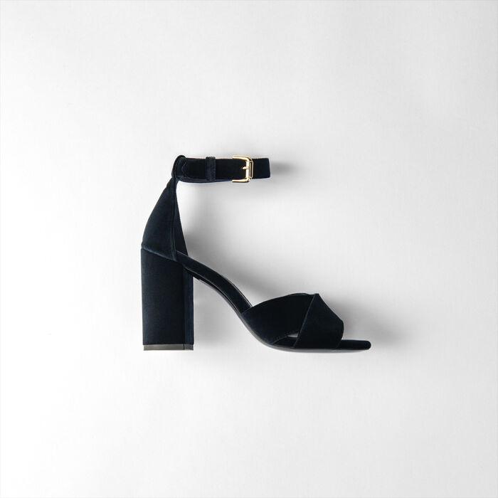 Heeled velvet sandals : Shoes color Navy
