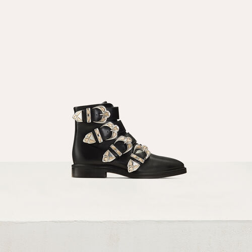 Multi-strap leather booties : Shoes color Black 210