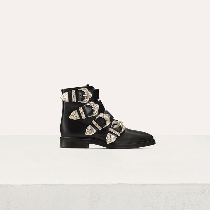 FJACKPOT Multi-strap leather booties - Shoes - Maje.com
