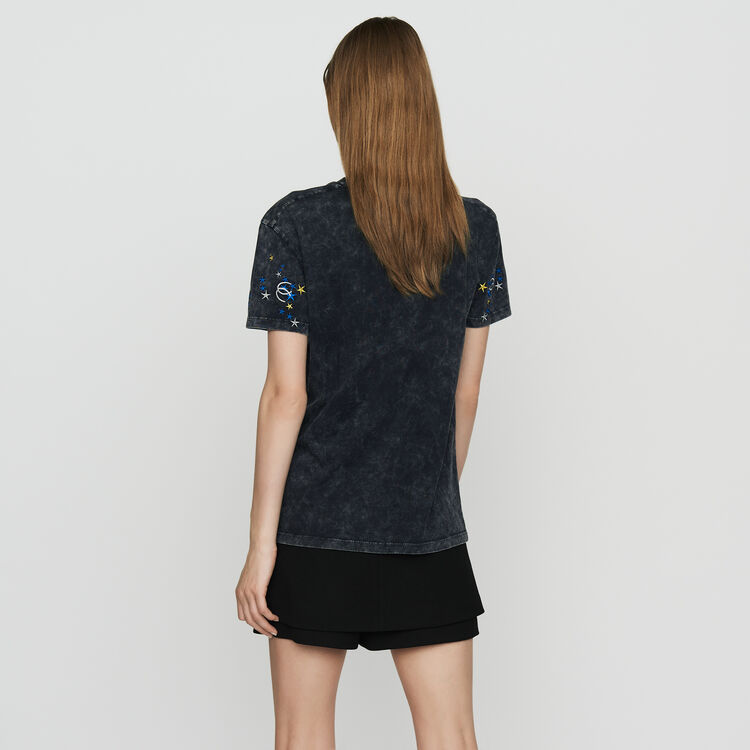 Embroidered T-shirt in distressed cotton : Tops & T-Shirts color Grey